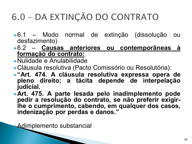 6.1 – Modo normal de extinção (dissolução ou desfazimento) 6.2 – Causas anteriores ou contemporâneas à formação do contrato: Nulidade e Anulabilidade