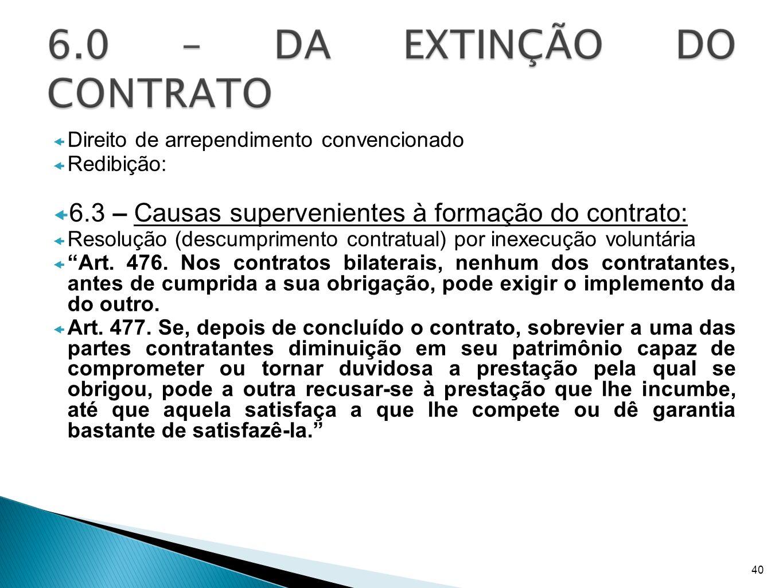 Direito de arrependimento convencionado Redibição: 6.3 – Causas supervenientes à formação do contrato: Resolução (descumprimento contratual) por inexe
