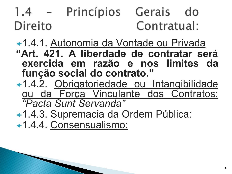 1.4.1. Autonomia da Vontade ou Privada Art. 421. A liberdade de contratar será exercida em razão e nos limites da função social do contrato. 1.4.2. Ob