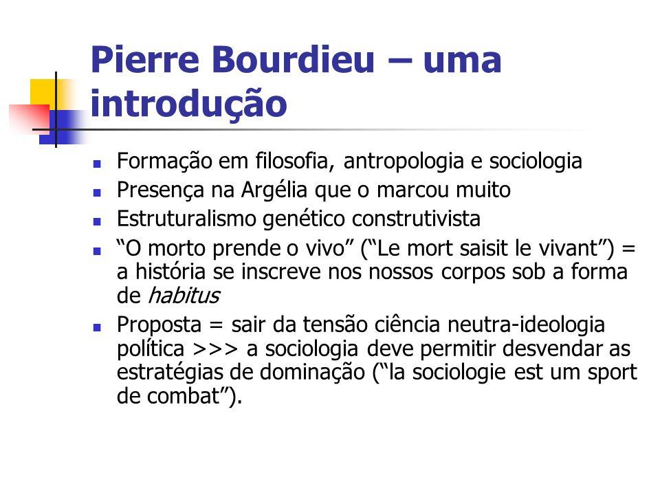Pierre Bourdieu – uma introdução Formação em filosofia, antropologia e sociologia Presença na Argélia que o marcou muito Estruturalismo genético const