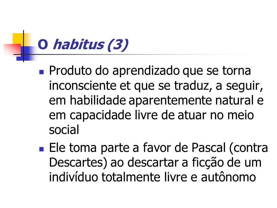 O habitus (3) Produto do aprendizado que se torna inconsciente et que se traduz, a seguir, em habilidade aparentemente natural e em capacidade livre d