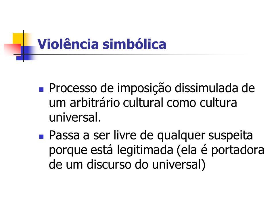 Violência simbólica Processo de imposição dissimulada de um arbitrário cultural como cultura universal. Passa a ser livre de qualquer suspeita porque