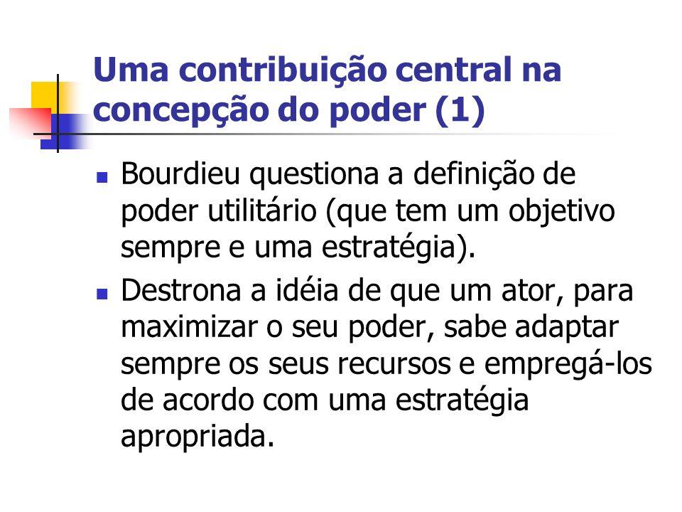 Uma contribuição central na concepção do poder (1) Bourdieu questiona a definição de poder utilitário (que tem um objetivo sempre e uma estratégia). D