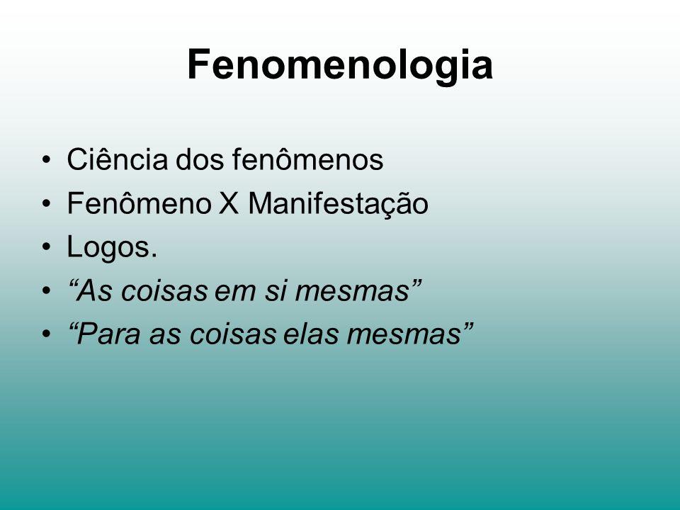 Fenomenologia Ciência dos fenômenos Fenômeno X Manifestação Logos. As coisas em si mesmas Para as coisas elas mesmas