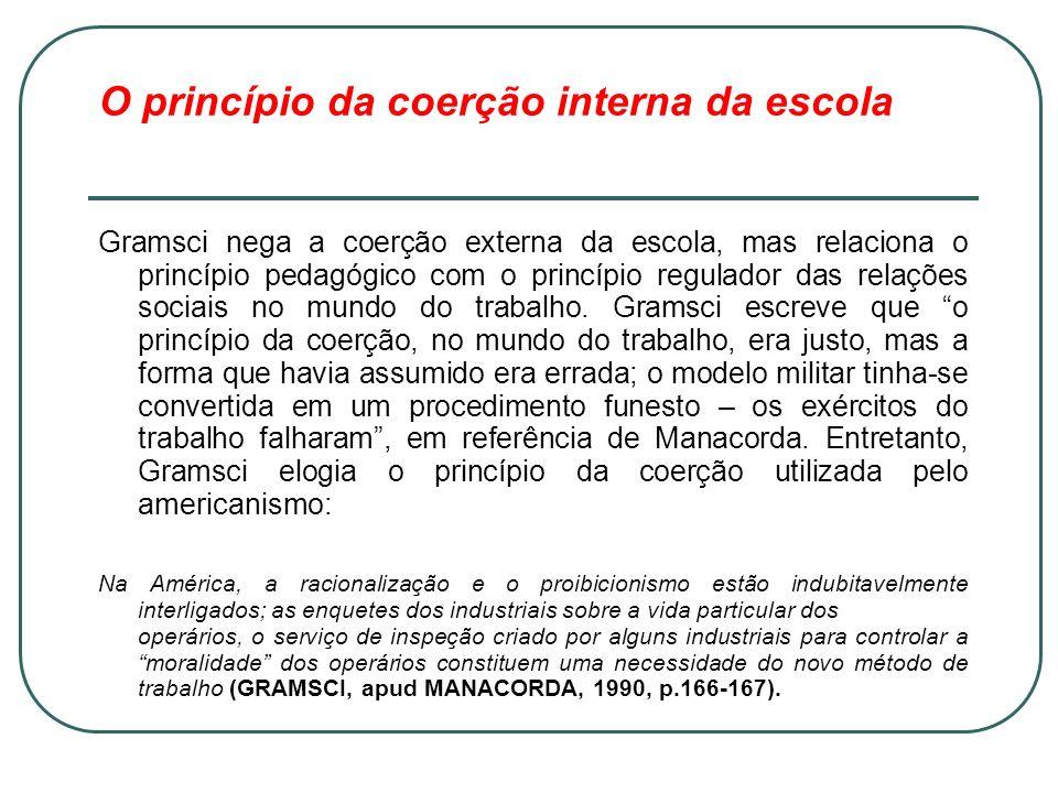 O princípio da coerção interna da escola Gramsci nega a coerção externa da escola, mas relaciona o princípio pedagógico com o princípio regulador das
