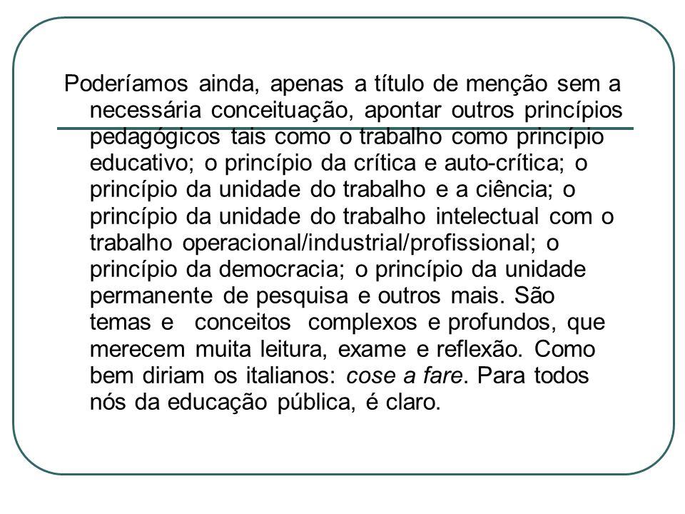 Poderíamos ainda, apenas a título de menção sem a necessária conceituação, apontar outros princípios pedagógicos tais como o trabalho como princípio e