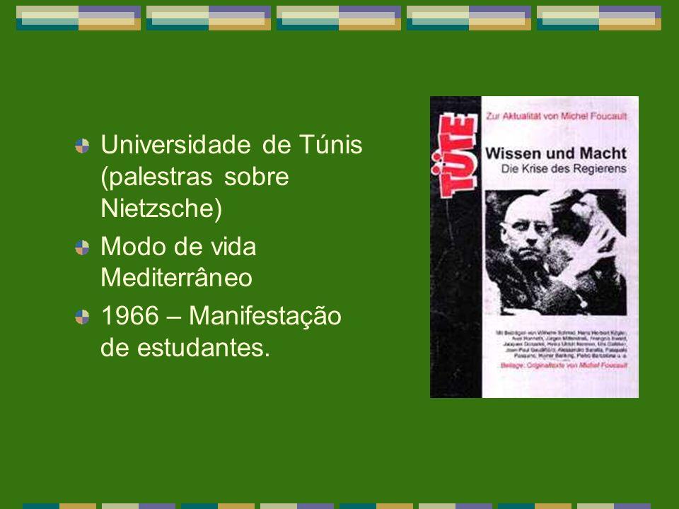 Universidade de Túnis (palestras sobre Nietzsche) Modo de vida Mediterrâneo 1966 – Manifestação de estudantes.