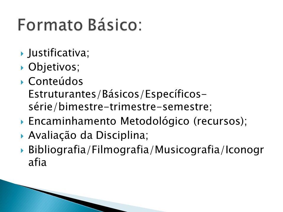 Justificativa; Objetivos; Conteúdos Estruturantes/Básicos/Específicos- série/bimestre-trimestre-semestre; Encaminhamento Metodológico (recursos); Aval