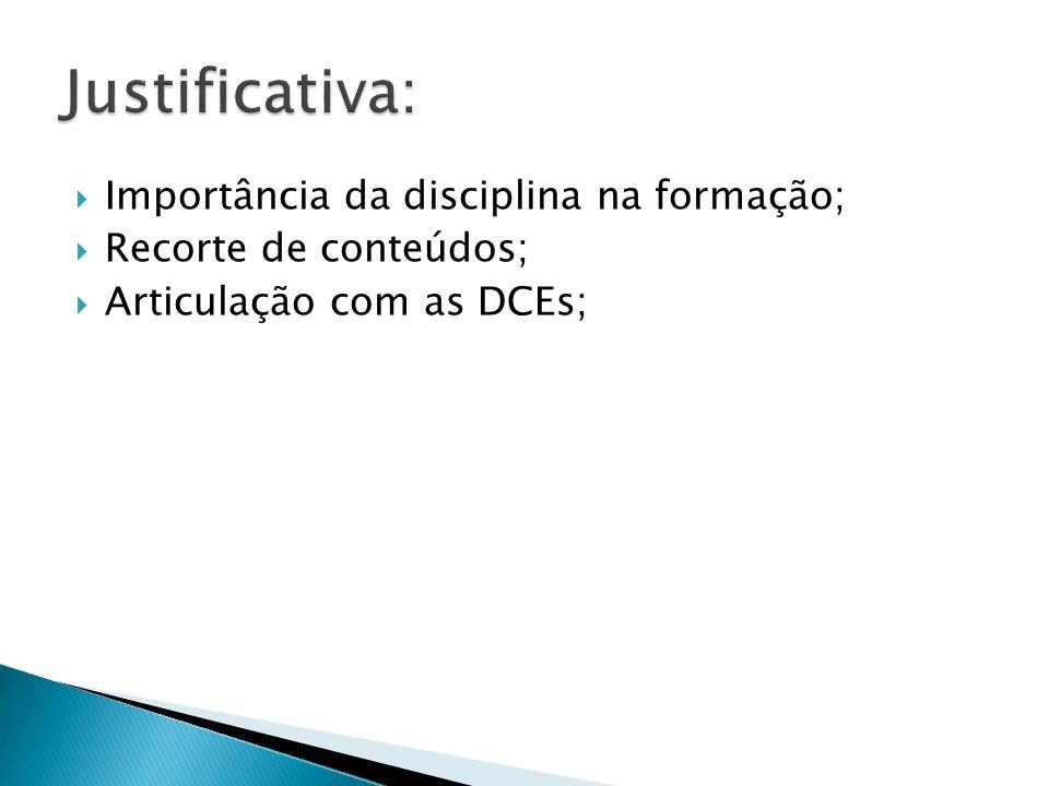 Importância da disciplina na formação; Recorte de conteúdos; Articulação com as DCEs;