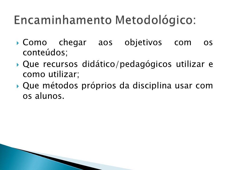 Como chegar aos objetivos com os conteúdos; Que recursos didático/pedagógicos utilizar e como utilizar; Que métodos próprios da disciplina usar com os