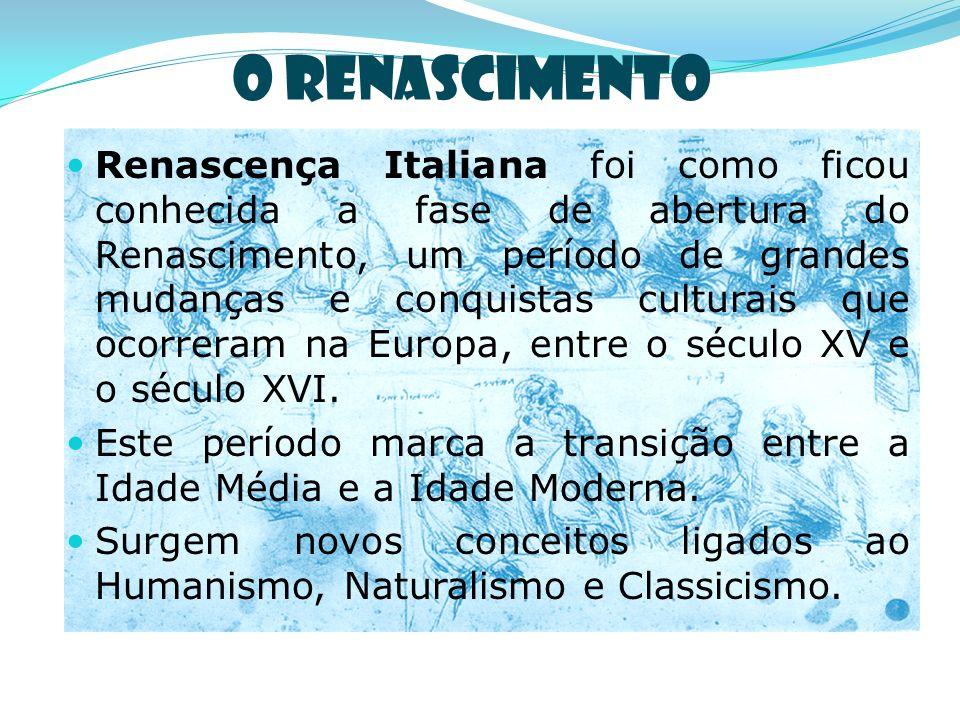 O Renascimento Renascença Italiana foi como ficou conhecida a fase de abertura do Renascimento, um período de grandes mudanças e conquistas culturais que ocorreram na Europa, entre o século XV e o século XVI.