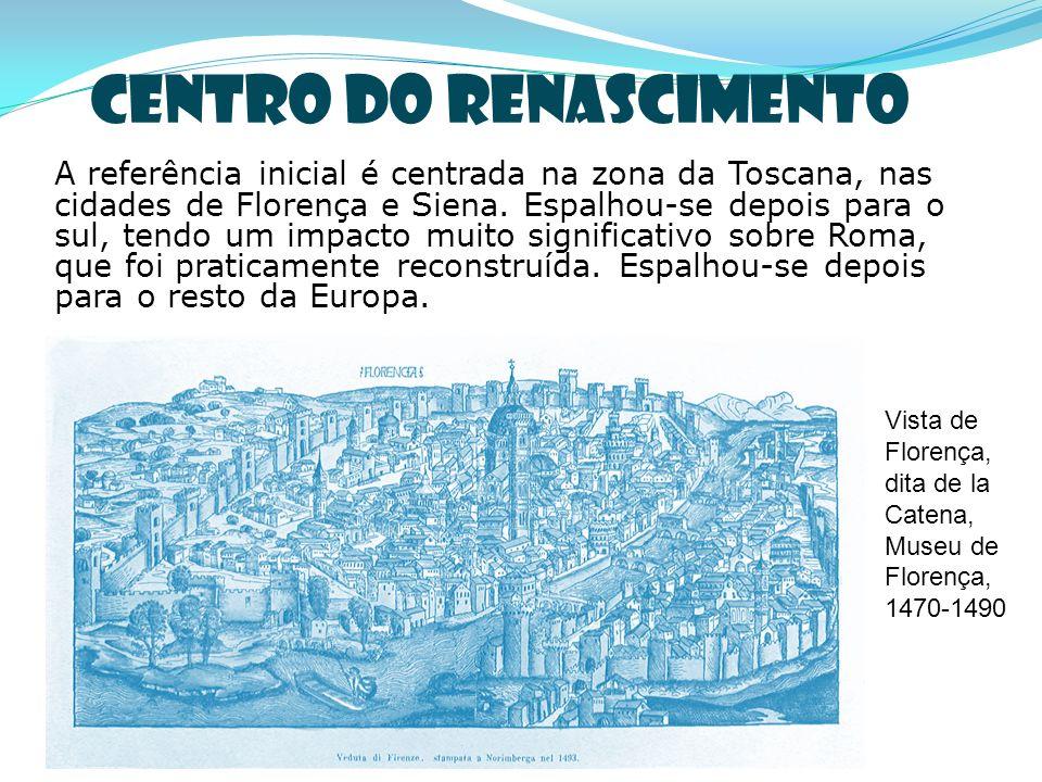 Centro do Renascimento A referência inicial é centrada na zona da Toscana, nas cidades de Florença e Siena. Espalhou-se depois para o sul, tendo um im