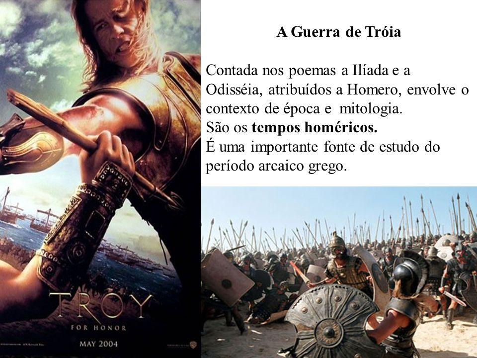 A Guerra de Tróia Contada nos poemas a Ilíada e a Odisséia, atribuídos a Homero, envolve o contexto de época e mitologia. São os tempos homéricos. É u