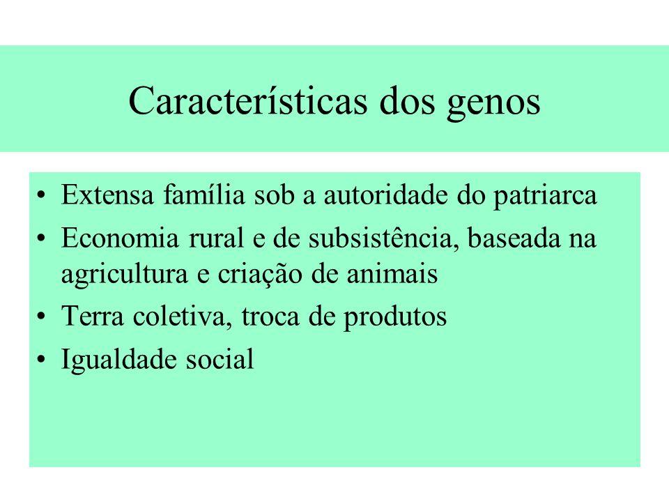 Características dos genos Extensa família sob a autoridade do patriarca Economia rural e de subsistência, baseada na agricultura e criação de animais