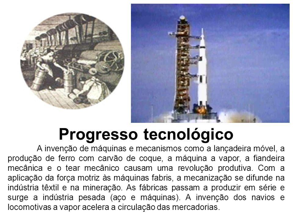 Progresso tecnológico A invenção de máquinas e mecanismos como a lançadeira móvel, a produção de ferro com carvão de coque, a máquina a vapor, a fiand