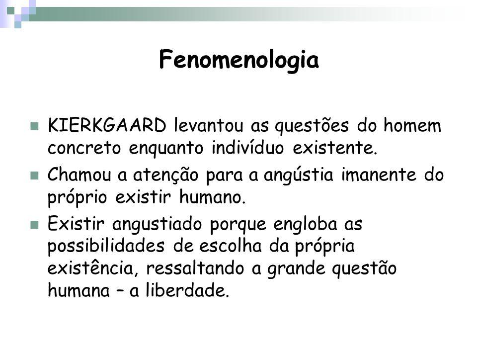 Fenomenologia KIERKGAARD levantou as questões do homem concreto enquanto indivíduo existente. Chamou a atenção para a angústia imanente do próprio exi