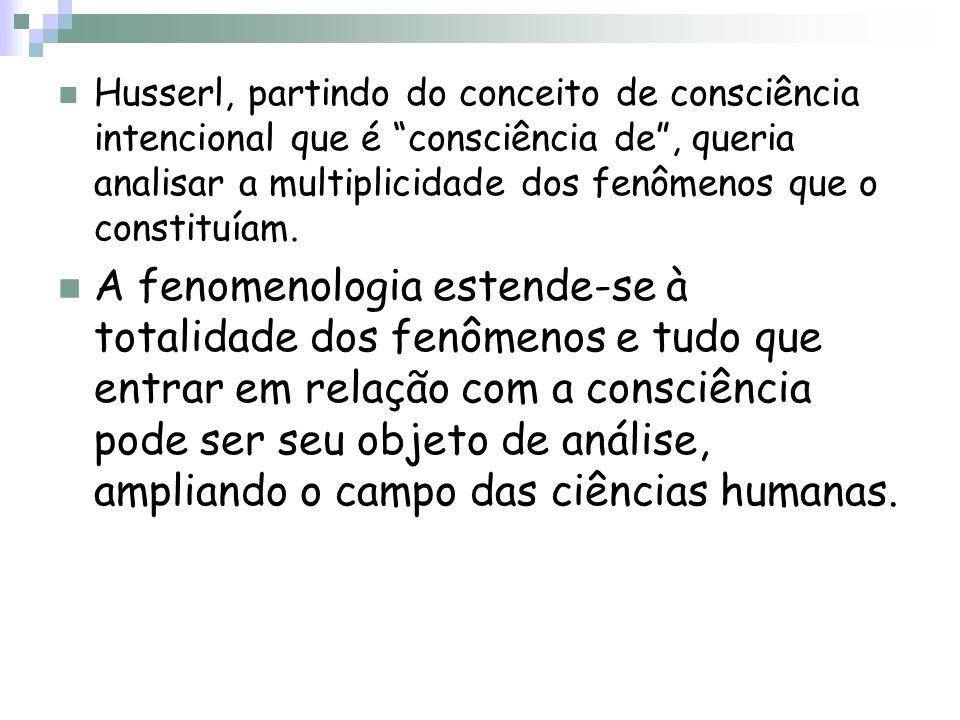 Husserl, partindo do conceito de consciência intencional que é consciência de, queria analisar a multiplicidade dos fenômenos que o constituíam. A fen