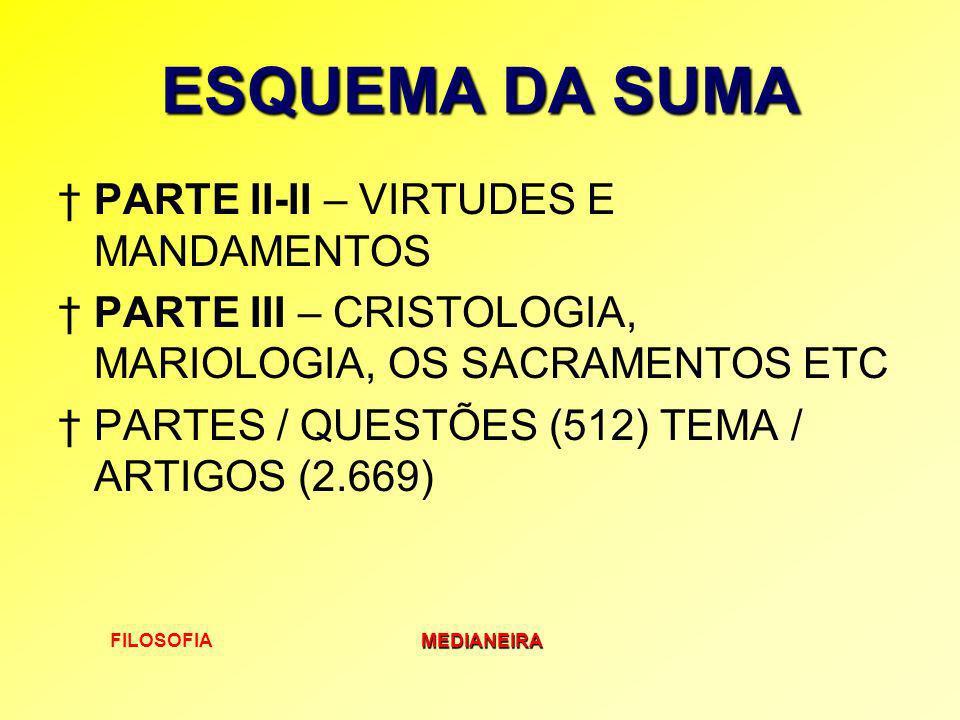 FILOSOFIAMEDIANEIRA ESQUEMA DA SUMA PARTE II-II – VIRTUDES E MANDAMENTOS PARTE III – CRISTOLOGIA, MARIOLOGIA, OS SACRAMENTOS ETC PARTES / QUESTÕES (51