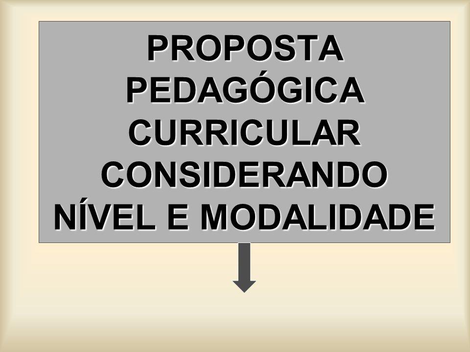 PROPOSTA PEDAGÓGICA CURRICULAR CONSIDERANDO NÍVEL E MODALIDADE