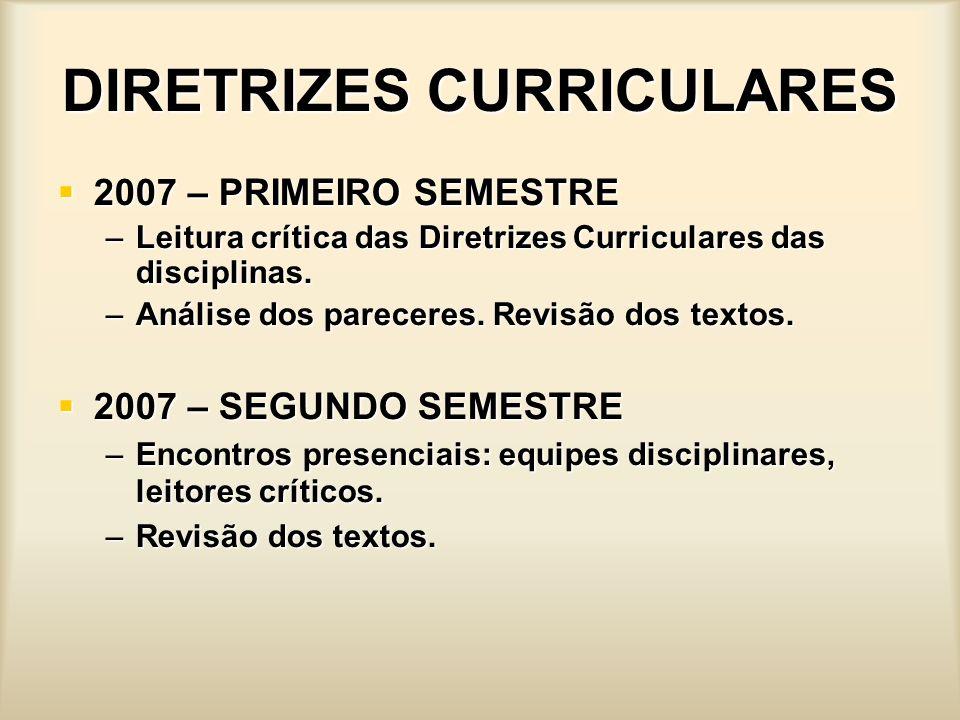 DIRETRIZES CURRICULARES 2007 – PRIMEIRO SEMESTRE 2007 – PRIMEIRO SEMESTRE –Leitura crítica das Diretrizes Curriculares das disciplinas. –Análise dos p