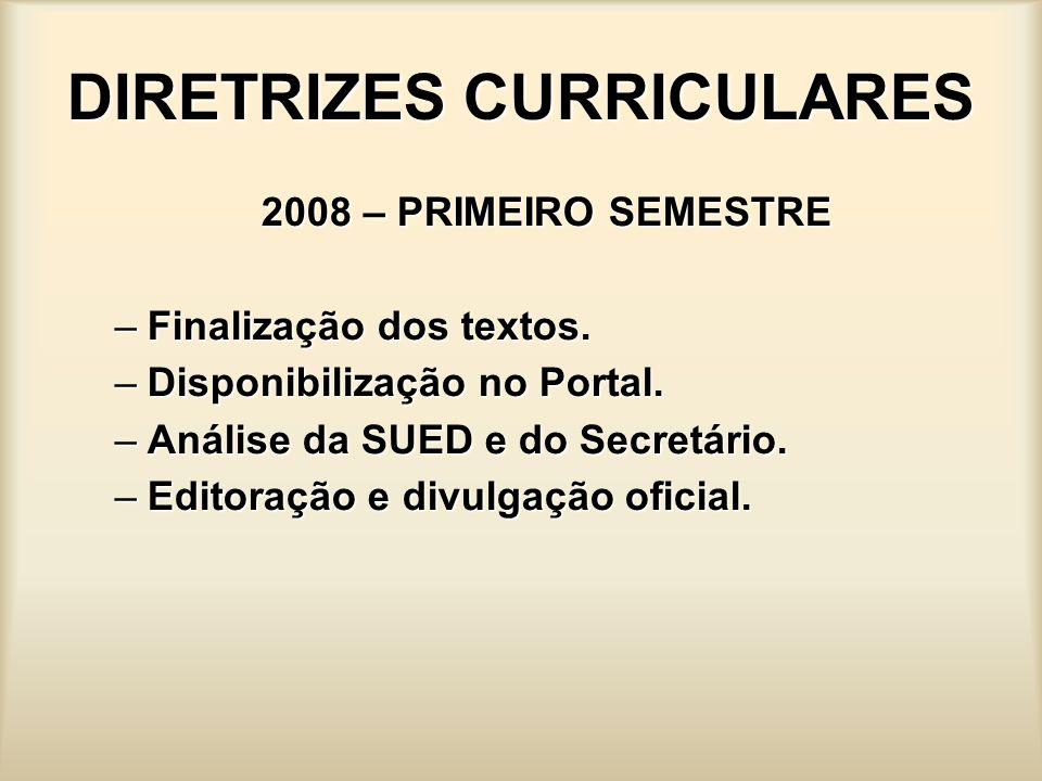 DIRETRIZES CURRICULARES 2008 – PRIMEIRO SEMESTRE –Finalização dos textos. –Disponibilização no Portal. –Análise da SUED e do Secretário. –Editoração e