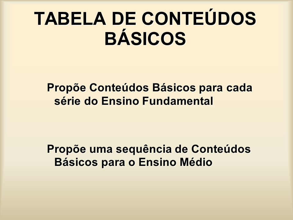TABELA DE CONTEÚDOS BÁSICOS Propõe Conteúdos Básicos para cada série do Ensino Fundamental Propõe uma sequência de Conteúdos Básicos para o Ensino Méd