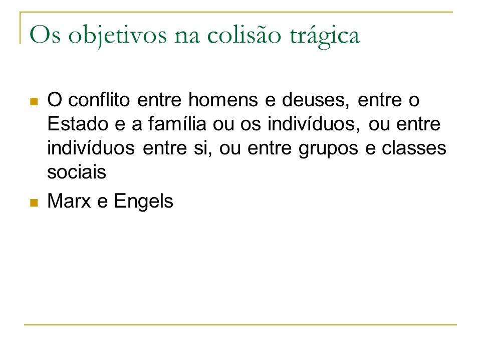 Os objetivos na colisão trágica O conflito entre homens e deuses, entre o Estado e a família ou os indivíduos, ou entre indivíduos entre si, ou entre