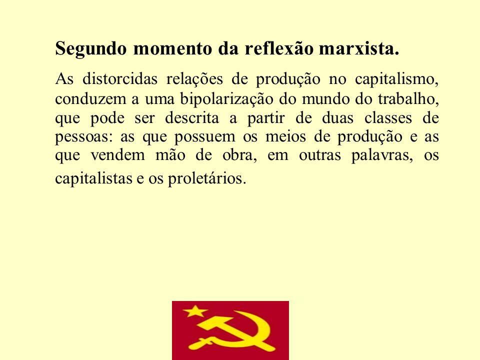 Segundo momento da reflexão marxista. As distorcidas relações de produção no capitalismo, conduzem a uma bipolarização do mundo do trabalho, que pode