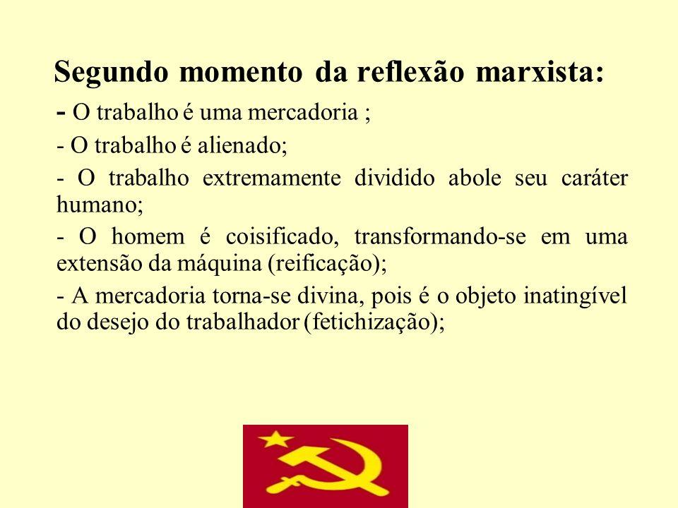Segundo momento da reflexão marxista: - O trabalho é uma mercadoria ; - O trabalho é alienado; - O trabalho extremamente dividido abole seu caráter hu