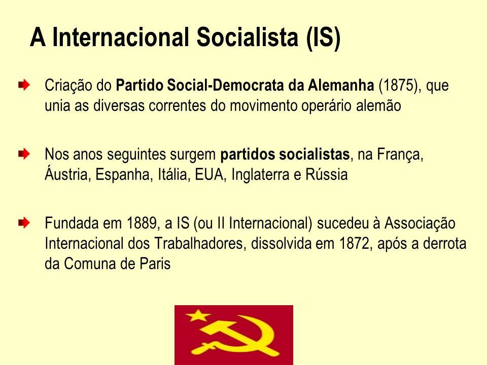A Internacional Socialista (IS) Criação do Partido Social-Democrata da Alemanha (1875), que unia as diversas correntes do movimento operário alemão No