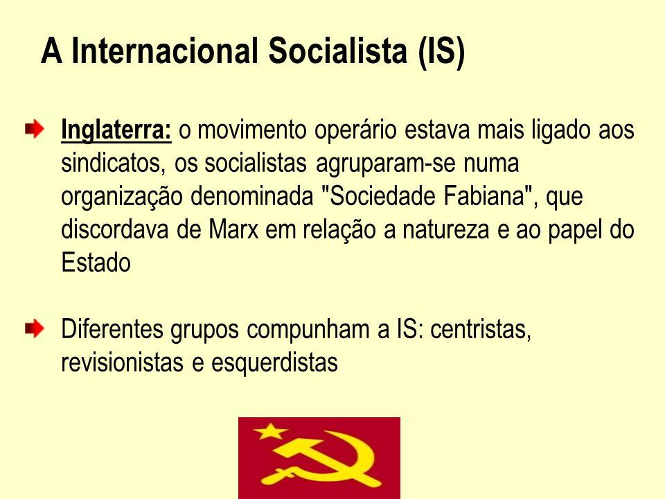 A Internacional Socialista (IS) Inglaterra: o movimento operário estava mais ligado aos sindicatos, os socialistas agruparam-se numa organização denom