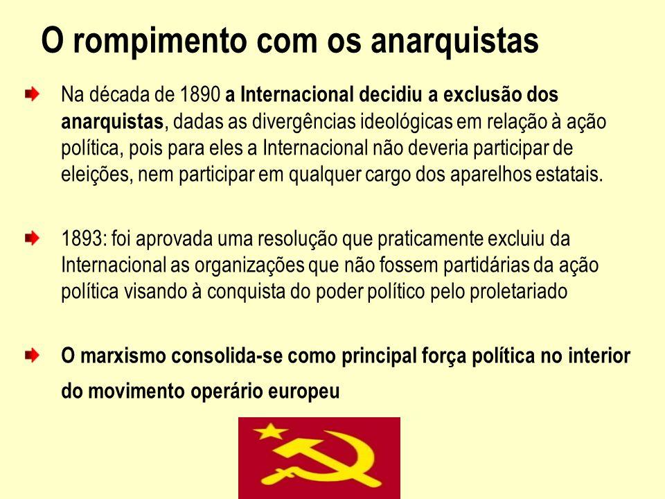 O rompimento com os anarquistas Na década de 1890 a Internacional decidiu a exclusão dos anarquistas, dadas as divergências ideológicas em relação à a