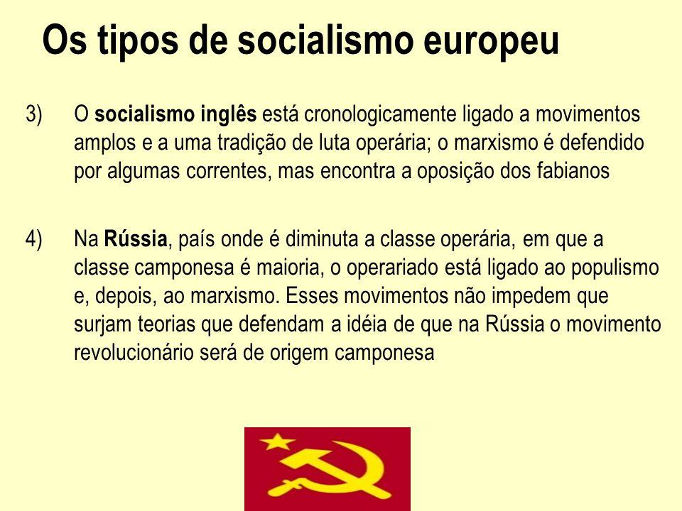 Os tipos de socialismo europeu 3)O socialismo inglês está cronologicamente ligado a movimentos amplos e a uma tradição de luta operária; o marxismo é