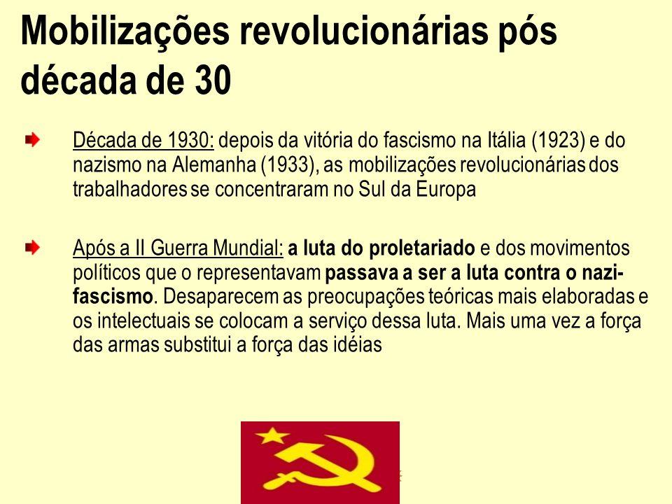 Mobilizações revolucionárias pós década de 30 Década de 1930: depois da vitória do fascismo na Itália (1923) e do nazismo na Alemanha (1933), as mobil