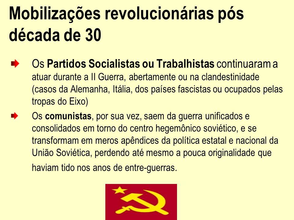 Mobilizações revolucionárias pós década de 30 Os Partidos Socialistas ou Trabalhistas continuaram a atuar durante a II Guerra, abertamente ou na cland