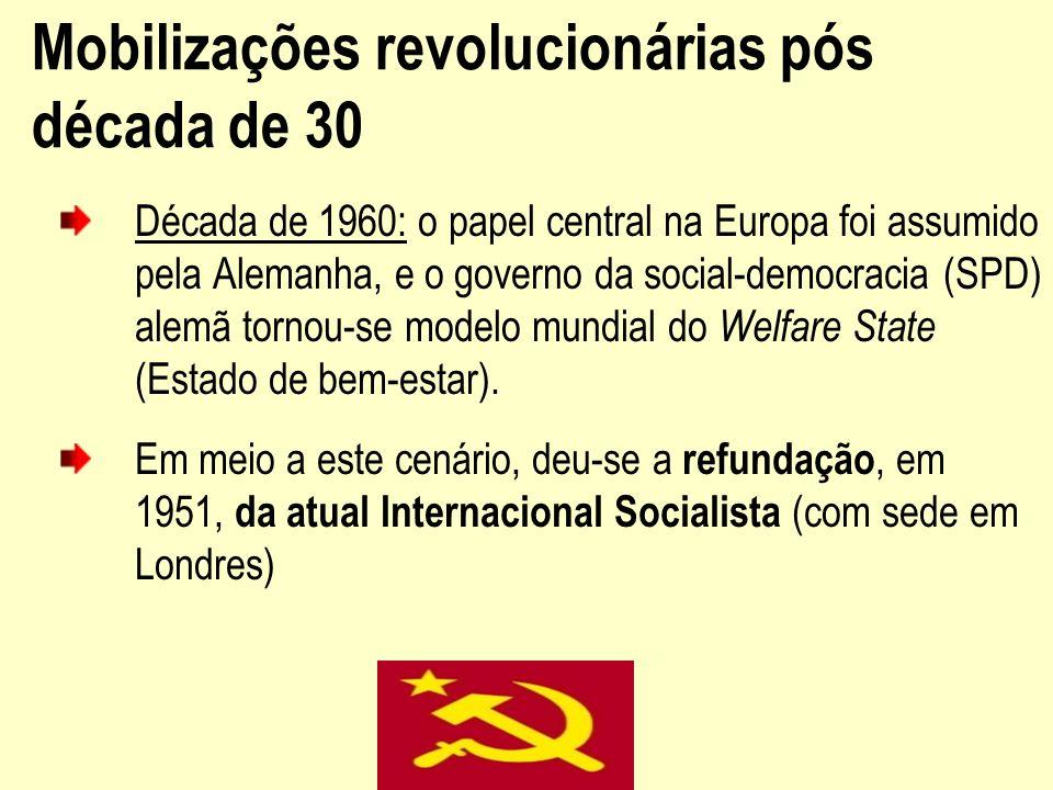Mobilizações revolucionárias pós década de 30 Década de 1960: o papel central na Europa foi assumido pela Alemanha, e o governo da social-democracia (