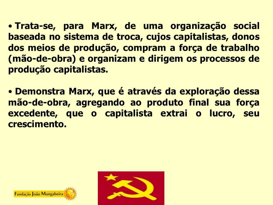 Trata-se, para Marx, de uma organização social baseada no sistema de troca, cujos capitalistas, donos dos meios de produção, compram a força de trabal