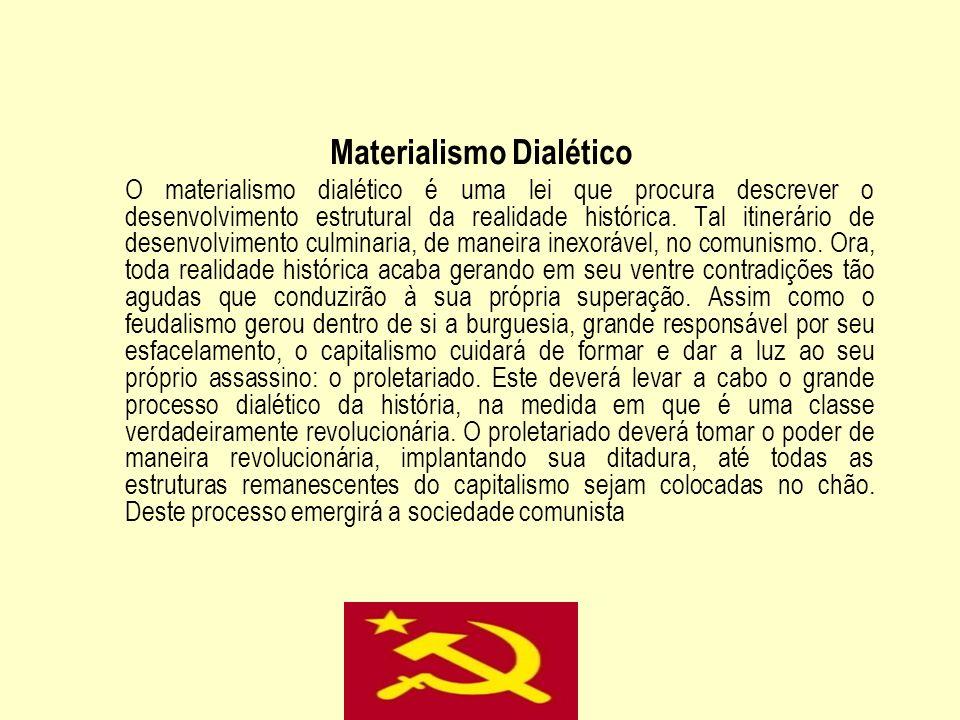 Materialismo Dialético O materialismo dialético é uma lei que procura descrever o desenvolvimento estrutural da realidade histórica. Tal itinerário de