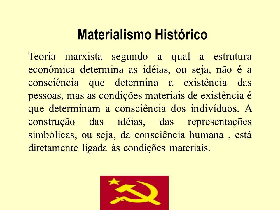 Materialismo Histórico Teoria marxista segundo a qual a estrutura econômica determina as idéias, ou seja, não é a consciência que determina a existênc