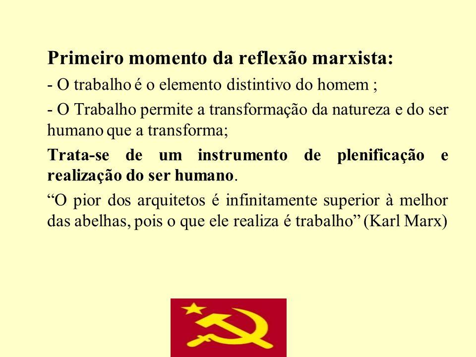 Primeiro momento da reflexão marxista: - O trabalho é o elemento distintivo do homem ; - O Trabalho permite a transformação da natureza e do ser human