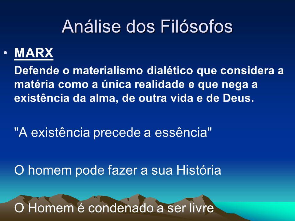 Análise dos Filósofos MARX Defende o materialismo dialético que considera a matéria como a única realidade e que nega a existência da alma, de outra v