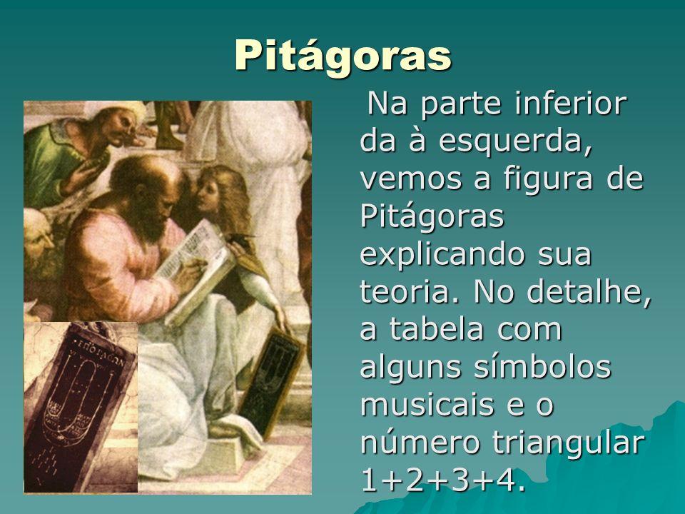 Pitágoras Na parte inferior da à esquerda, vemos a figura de Pitágoras explicando sua teoria. No detalhe, a tabela com alguns símbolos musicais e o nú