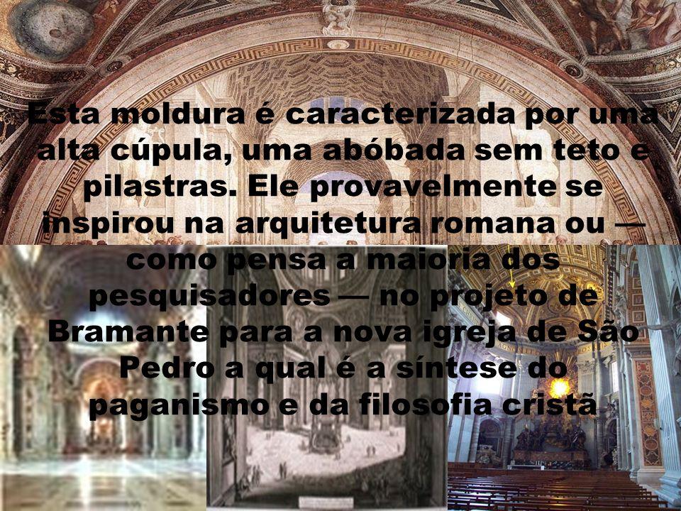 Esta moldura é caracterizada por uma alta cúpula, uma abóbada sem teto e pilastras. Ele provavelmente se inspirou na arquitetura romana ou como pensa