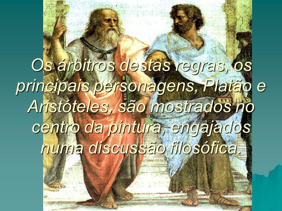 Platão No centro da Escola de Atenas destaca-se Platão (427-347 a.C.), segurando sua obra Timaeus, e apontando sua mão direita para cima, gesto que representa a teoria das formas (abstrata e intangível).