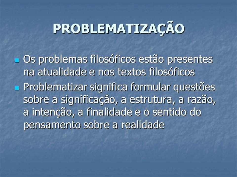 PROBLEMATIZAÇÃO Os problemas filosóficos estão presentes na atualidade e nos textos filosóficos Os problemas filosóficos estão presentes na atualidade