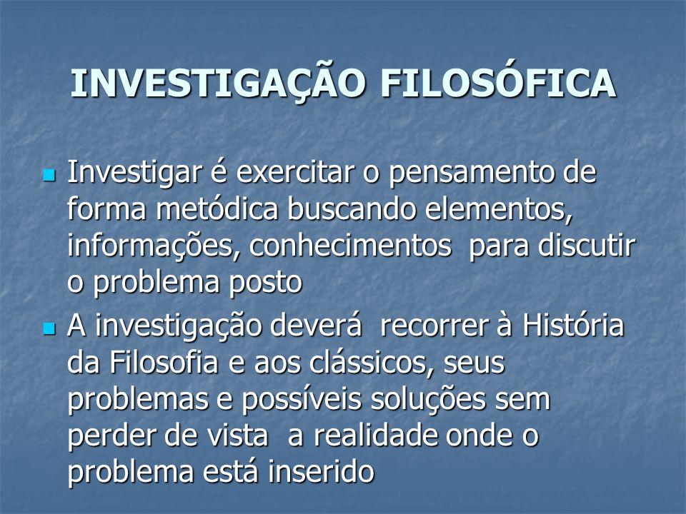INVESTIGAÇÃO FILOSÓFICA Investigar é exercitar o pensamento de forma metódica buscando elementos, informações, conhecimentos para discutir o problema