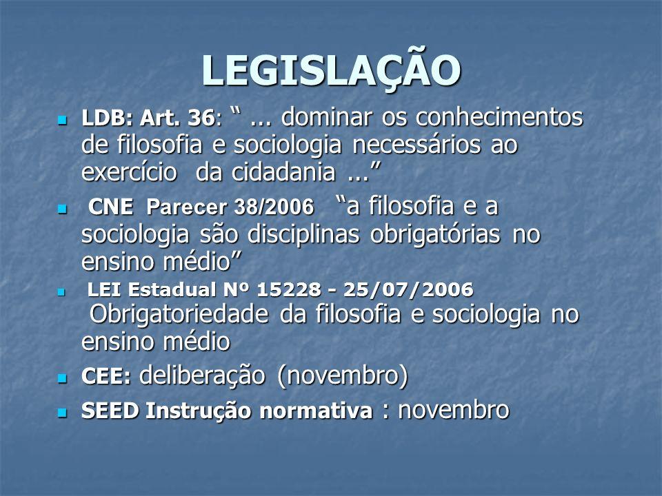 LEGISLAÇÃO LDB: Art. 36:... dominar os conhecimentos de filosofia e sociologia necessários ao exercício da cidadania... LDB: Art. 36:... dominar os co