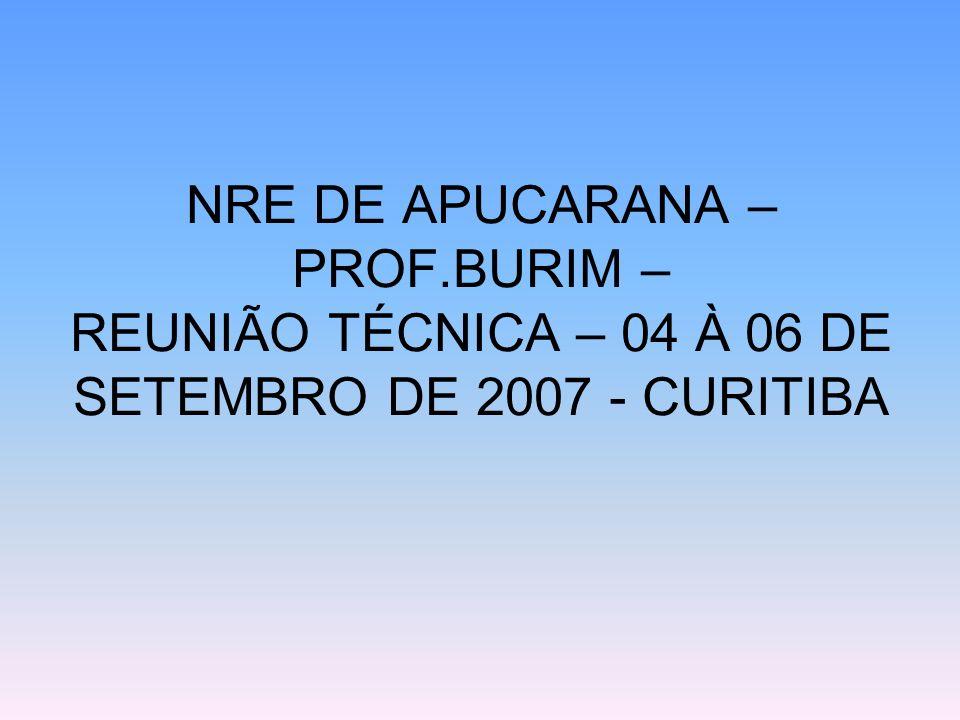 NRE DE APUCARANA – PROF.BURIM – REUNIÃO TÉCNICA – 04 À 06 DE SETEMBRO DE 2007 - CURITIBA