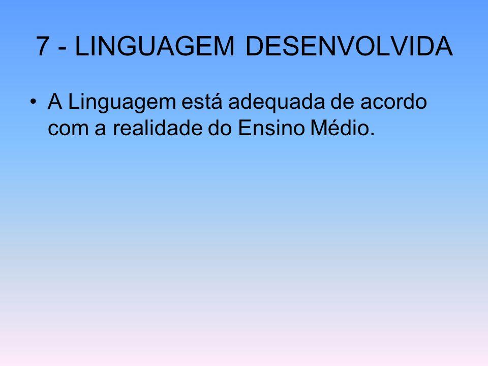 7 - LINGUAGEM DESENVOLVIDA A Linguagem está adequada de acordo com a realidade do Ensino Médio.