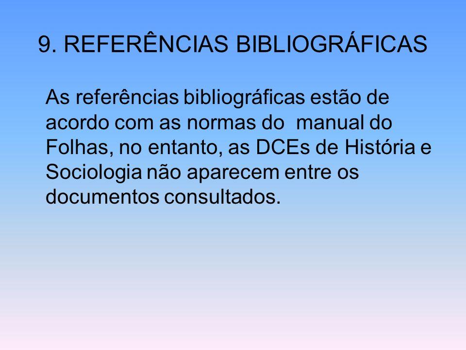 9. REFERÊNCIAS BIBLIOGRÁFICAS As referências bibliográficas estão de acordo com as normas do manual do Folhas, no entanto, as DCEs de História e Socio